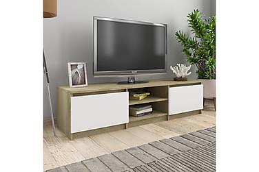 TV-bänk vit och sonoma-ek 140x40x35,5 cm spånskiva