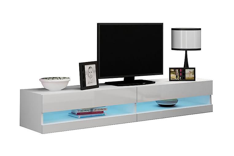 TV-bänk Wishon 180 cm Öppen Hylla - Vit/Vit Högglans - Möbler - TV- & Mediamöbler - TV-bänk & mediabänk