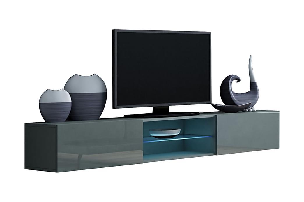 TV-bänk Wishon 180x40x30 cm - Svart/Grå - Möbler - TV- & Mediamöbler - TV-bänk & mediabänk
