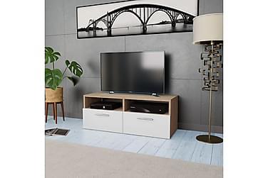 TV-möbel spånskiva 95x35x36 cm ek och vit