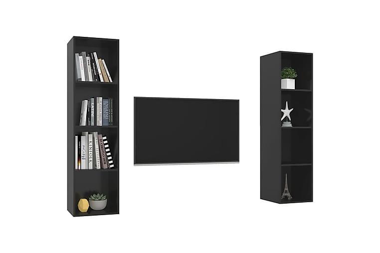Väggmonterade tv-skåp 2 st svart högglans spånskiva - Svart - Möbler - TV- & Mediamöbler - TV-bänk & mediabänk