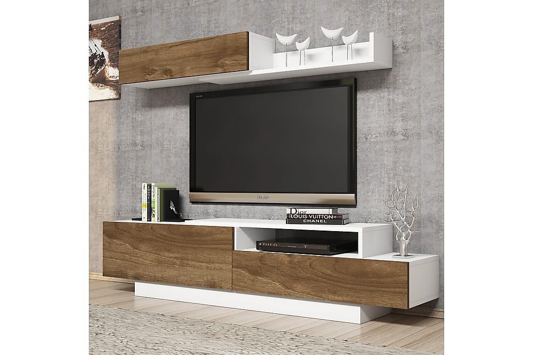 Tv-bänk Lengman - Vit|Valnöt - Möbler - TV- & Mediamöbler - TV-möbelset