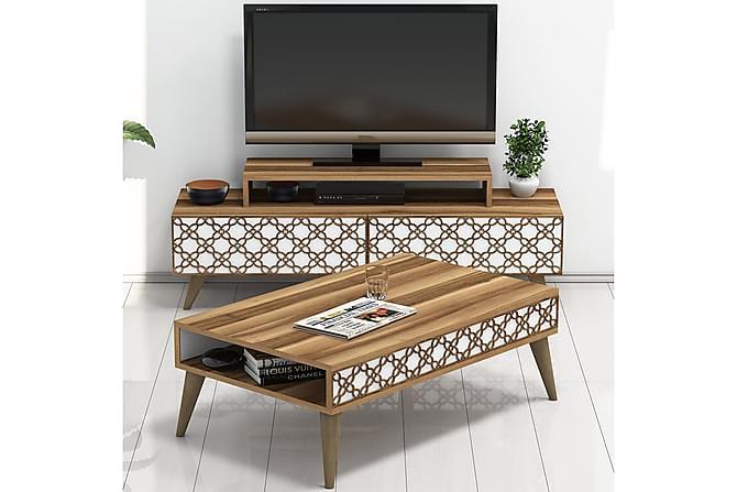 TV-Möbelset Amtorp 140 cm - Brun/Vit - Möbler - TV- & Mediamöbler - TV-möbelset