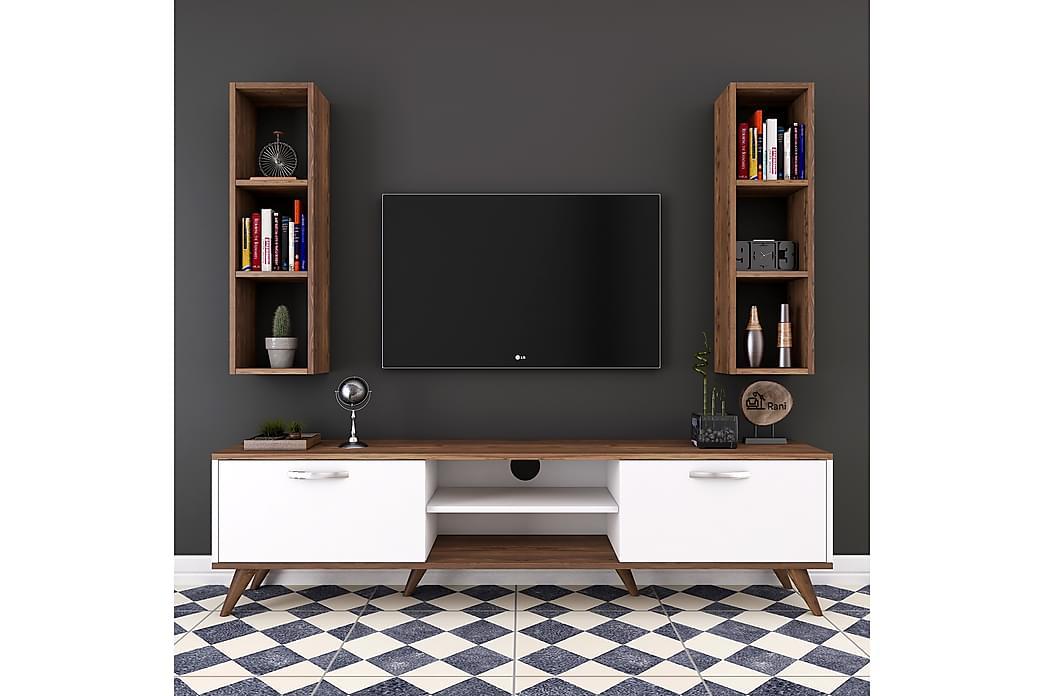 TV-Möbelset Horveryd 180 cm - Vit Brun - Möbler - TV- & Mediamöbler - TV-möbelset