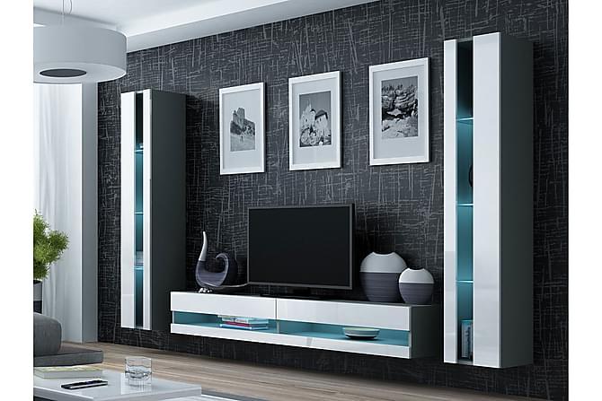 TV-möbelset Vigo 260x40x180 cm - Grå|Vit - Möbler - TV- & Mediamöbler - TV-möbelset
