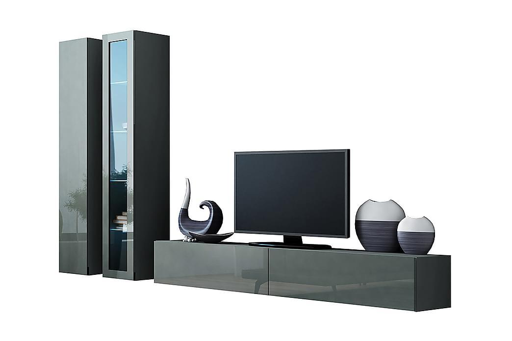 TV-möbelset Wishon 260x40x180 cm - Grå/Vit - Möbler - TV- & Mediamöbler - TV-möbelset