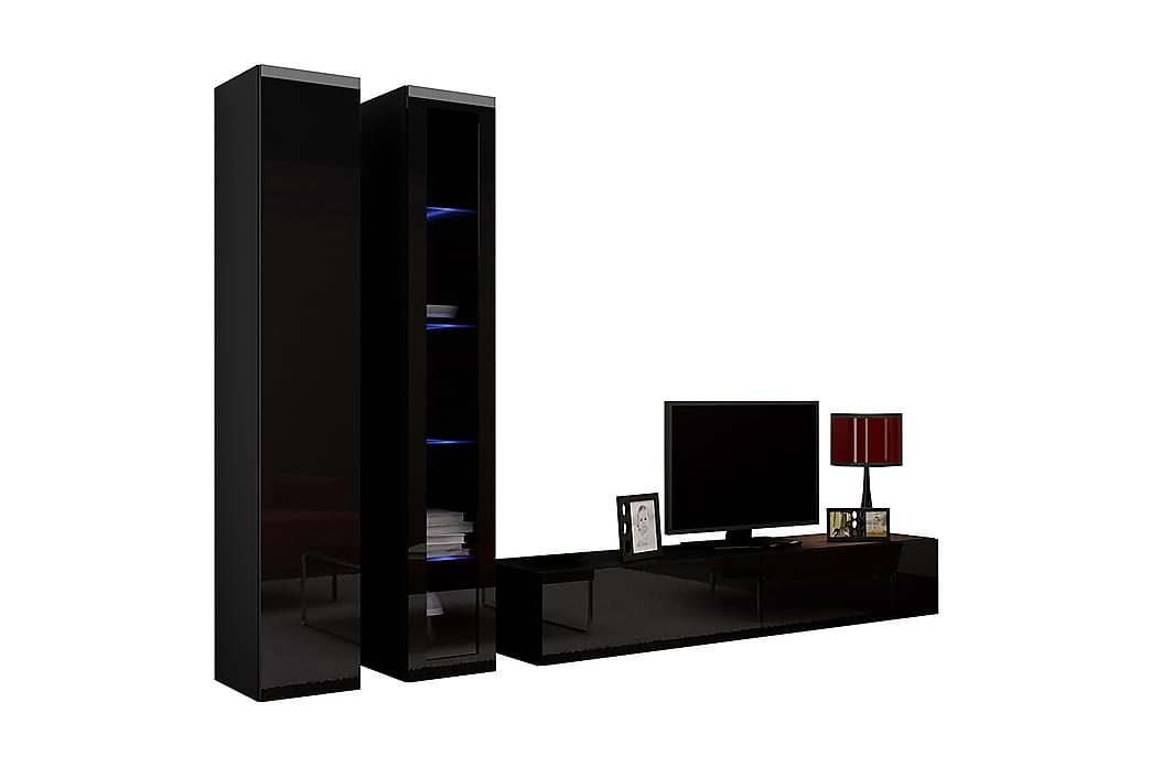 TV-möbelset Wishon 260x40x180 cm - Svart/Vit - Möbler - TV- & Mediamöbler - TV-möbelset