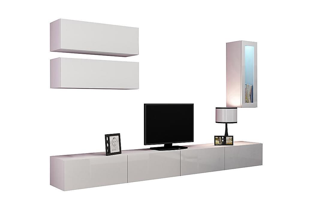 TV-möbelset Wishon 280x40x180 cm - Vit - Möbler - TV- & Mediamöbler - TV-möbelset