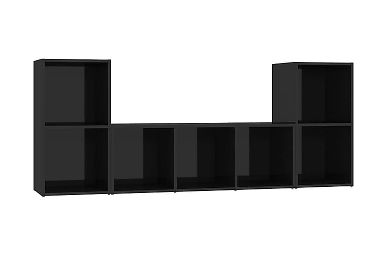 TV-skåp 3 delar svart högglans spånskiva - Svart - Möbler - TV- & Mediamöbler - TV-skåp