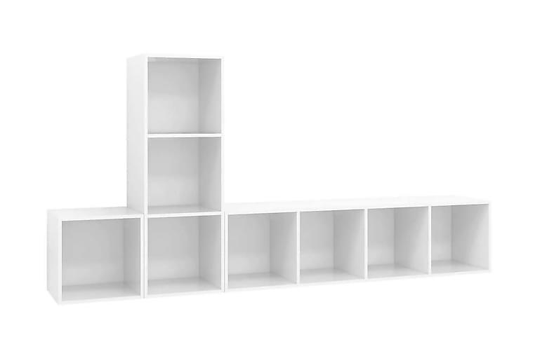 TV-skåp 3 delar vit högglans spånskiva - Vit - Möbler - TV- & Mediamöbler - TV-skåp