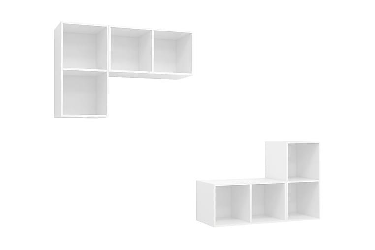 Väggmonterade tv-skåp 4 st vit spånskiva - Vit - Möbler - TV- & Mediamöbler - TV-skåp