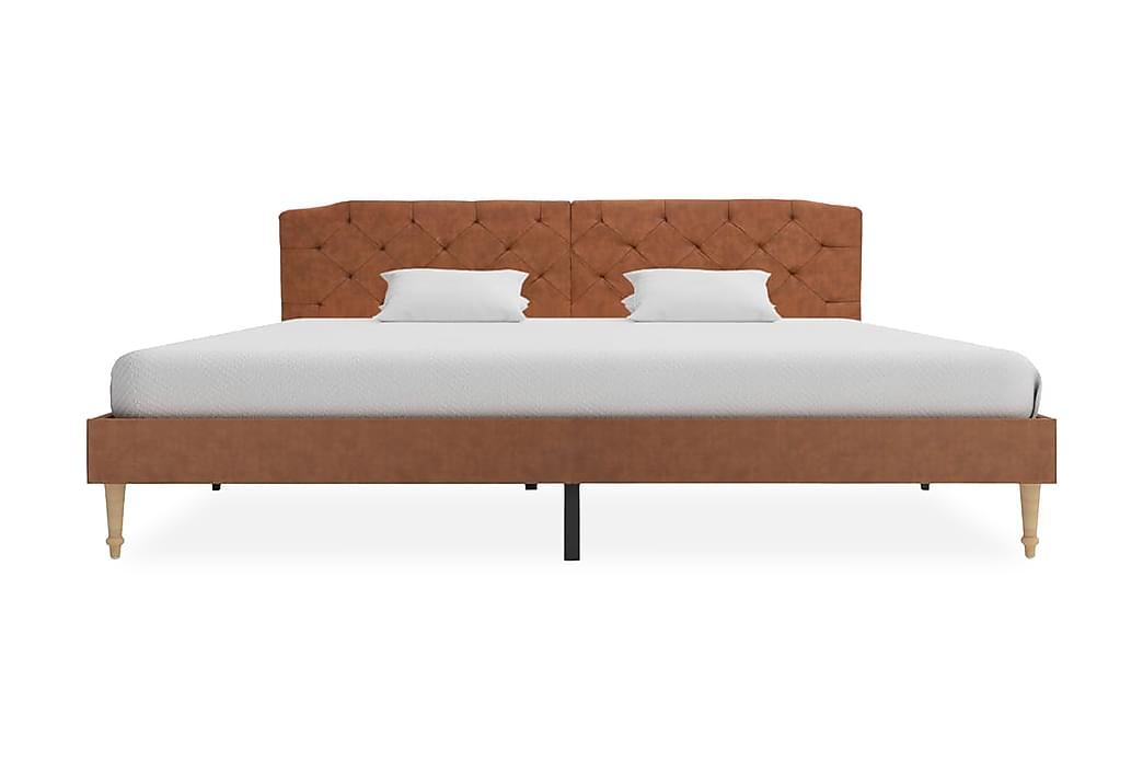 Säng med madrass brun tyg 180x200 cm - Brun - Möbler - Sängar - Dubbelsängar