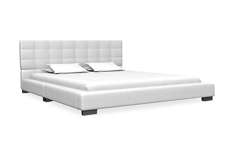 Säng med memoryskummadrass vit konstläder 140x200 cm - Vit - Möbler - Sängar - Dubbelsängar