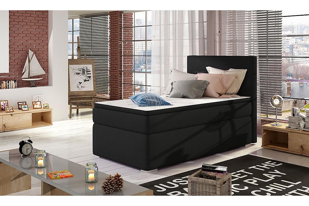 Förvaringssäng Ypas 90x200 cm Vänster - Svart - Möbler - Sängar - Sängar med förvaring