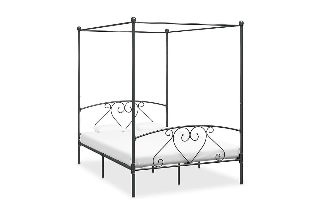 Himmelsäng grå metall 140x200 cm - Grå - Möbler - Sängar - Himmelsäng