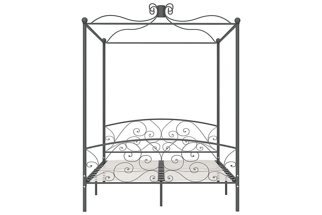 Himmelsäng grå metall 160x200 cm - Grå - Möbler - Sängar - Himmelsäng