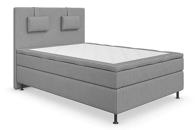 Komplett Sängpaket Roma Lyx 140 Ljusgrå/Silver Ben - Kontinentalsäng - Möbler - Sängar - Komplett sängpaket
