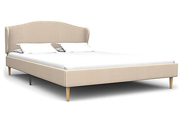 Säng med memoryskummadrass beige tyg 140x200 cm