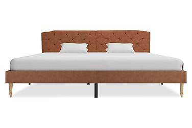 Säng med memoryskummadrass brun tyg 180x200 cm