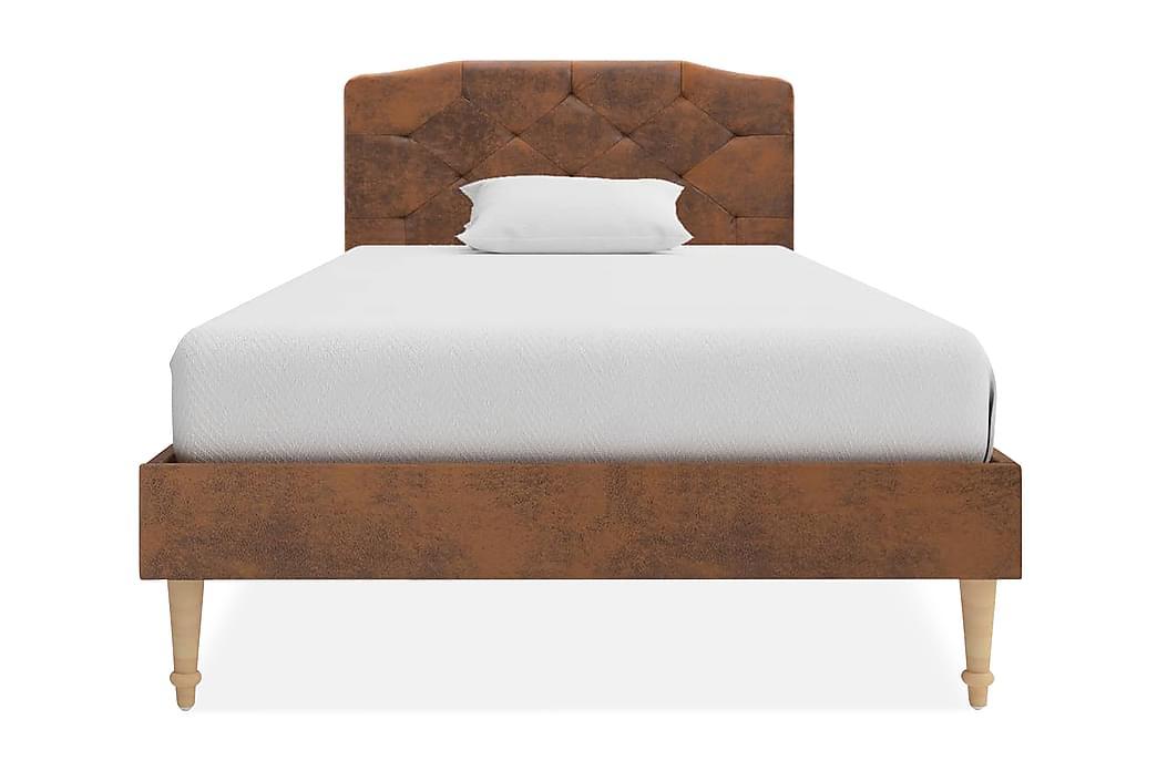 Säng med madrass brun konstmocka 90x200 cm - Brun - Möbler - Sängar - Enkelsängar