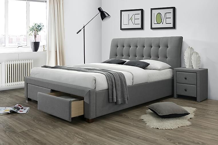 Förvaringssäng Matinella 160x200 - Grå|Valnöt - Möbler - Sängar - Sängar med förvaring