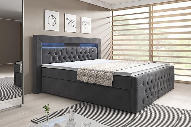 Sängpaket Celio 140x200 med Förvaring - Grå/Sammet - Möbler - Sängar - Komplett sängpaket