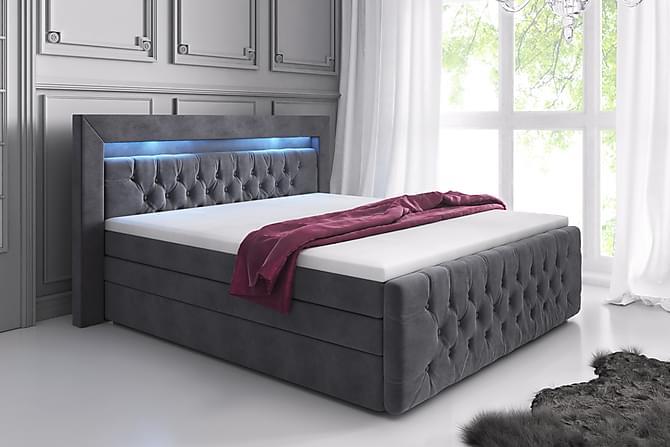 Sängpaket Celio Lyx 180x200 LED-belysning - Grå/Sammet - Möbler - Sängar - Komplett sängpaket