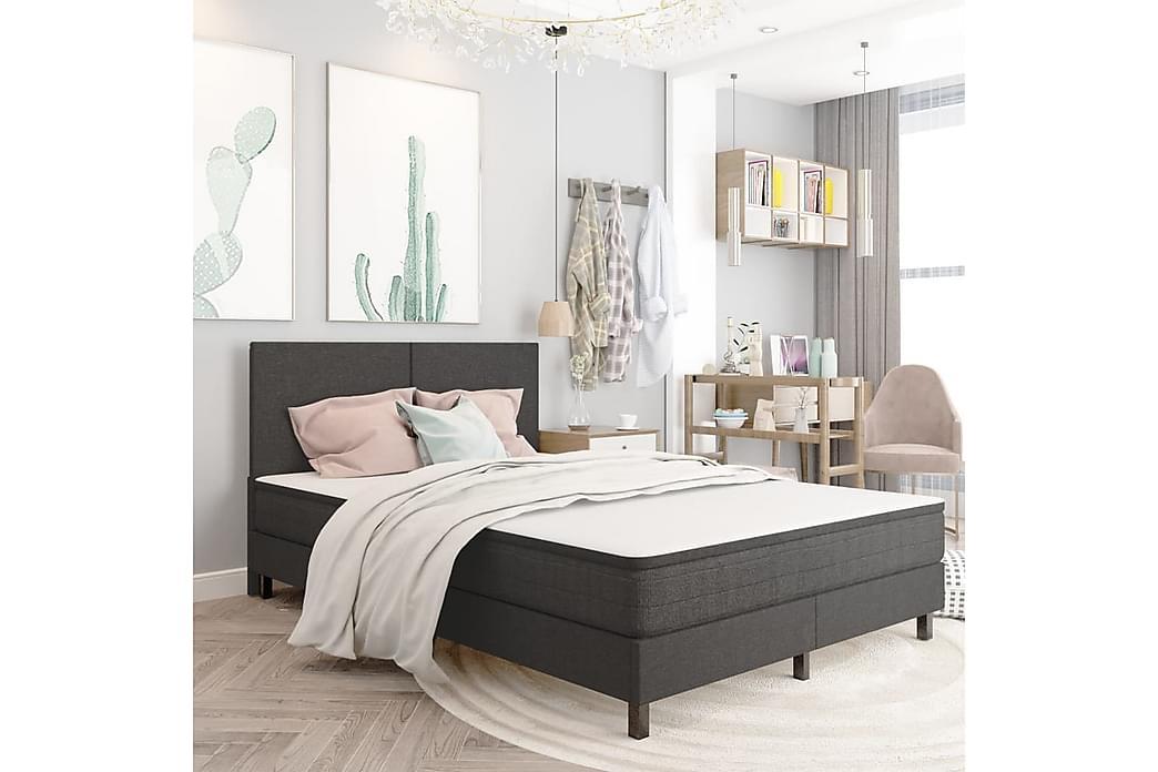 Resårsäng mörkgrå tyg 160x200 cm - Grå - Möbler - Sängar - Sängram & sängstomme