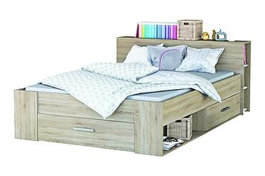 Säng Bim 140x200 cm med Förvaring Borstad Ek