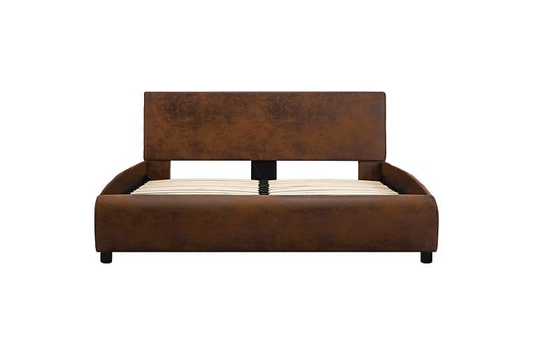 Sängram brun konstläder 120x200 cm - Brun - Möbler - Sängar - Sängram & sängstomme