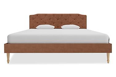 Sängram brun tyg 140x200 cm