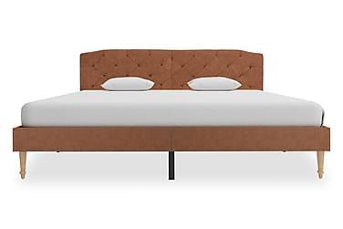 Sängram brun tyg 160x200 cm