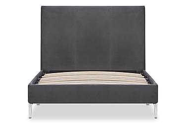 Sängram grå tyg 90x200 cm