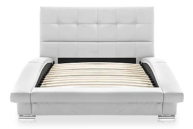 Sängram konstläder vit 200x90 cm