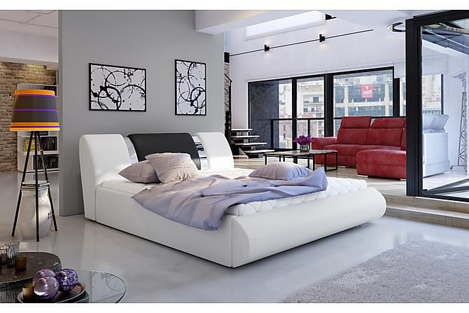 Sängram Limoz 160x200 cm - Vit/Svart - Möbler - Sängar - Sängram & sängstomme