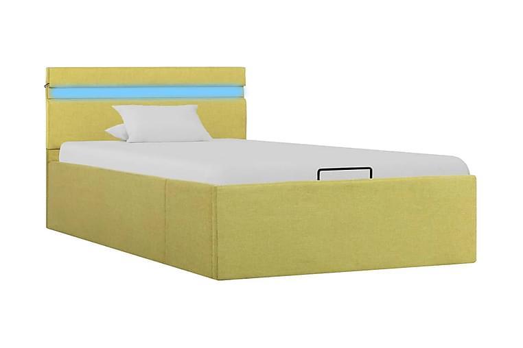 Sängram m. hydraulisk förvaring & LED limegul tyg 90x200cm - Gul - Möbler - Sängar - Sängram & sängstomme