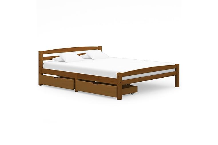 Sängram med 2 lådor honungsbrun massiv furu 160x200 cm - Brun - Möbler - Sängar - Sängram & sängstomme