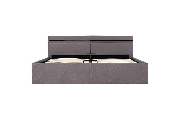 Sängram med hydraulisk förvaring & LED taupe tyg 160x200 cm - Brun - Möbler - Sängar - Sängram & sängstomme