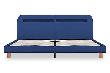 Sängram med LED blå tyg 180x200 cm
