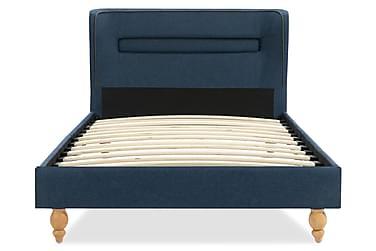 Sängram med LED blå tyg 90x200 cm