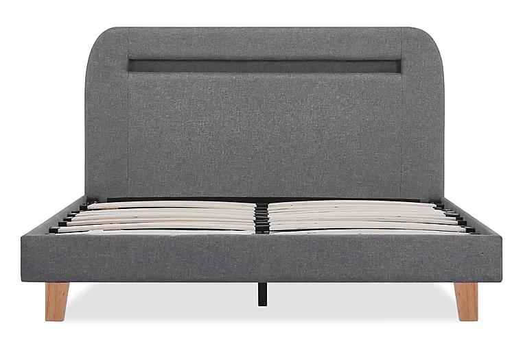 Sängram med LED grå tyg 120x200 cm - Grå - Möbler - Sängar - Sängram & sängstomme
