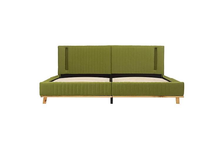 Sängram med LED grön tyg 160x200 cm - Grön - Möbler - Sängar - Sängram & sängstomme