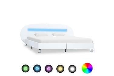 Sängram med LED vit konstläder 140x200 cm