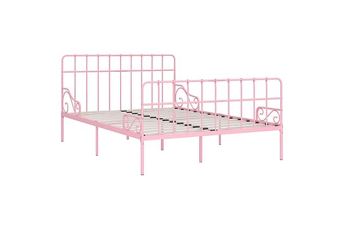 Sängram med ribbotten rosa metall 120x200 cm - Rosa - Möbler - Sängar - Sängram & sängstomme