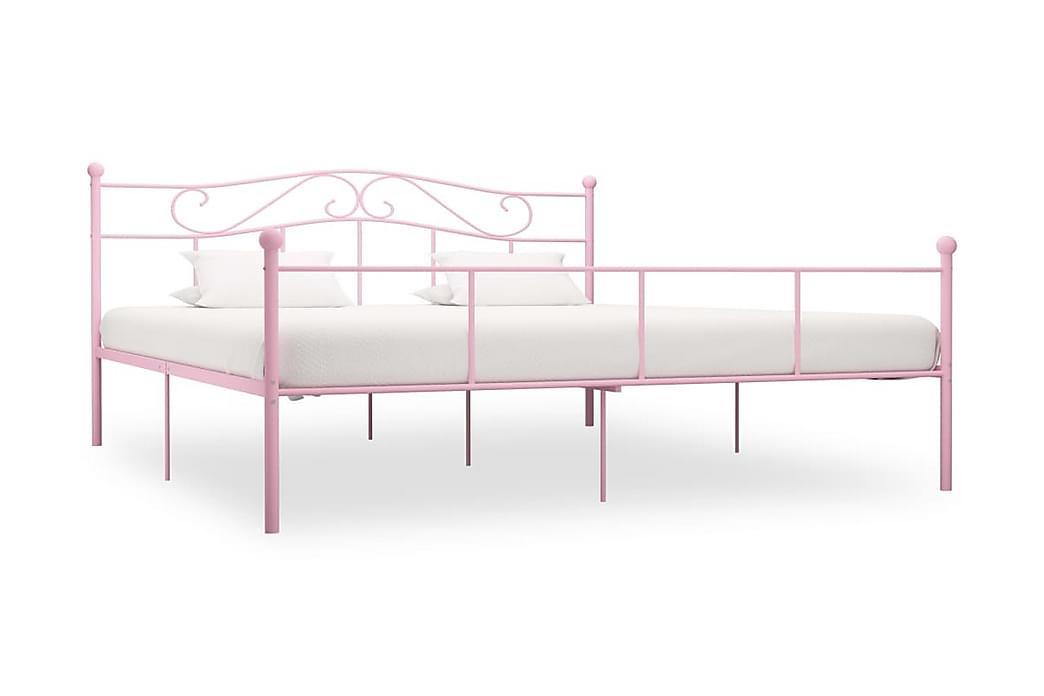Sängram rosa metall 180x200 cm - Rosa - Möbler - Sängar - Sängram & sängstomme