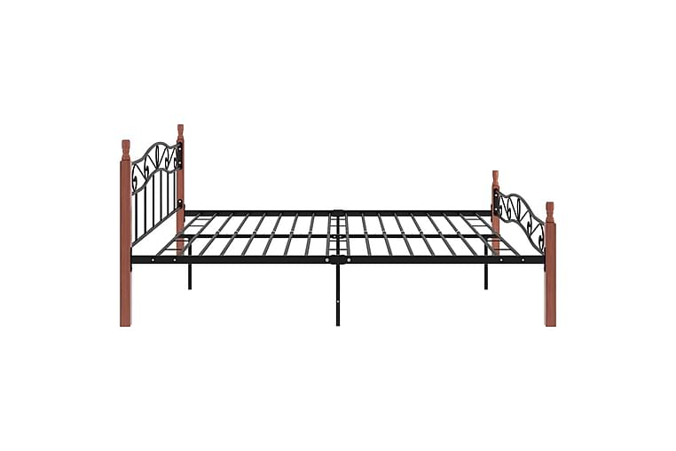 Sängram svart metall och massiv ek 200x200 cm - Svart - Möbler - Sängar - Sängram & sängstomme