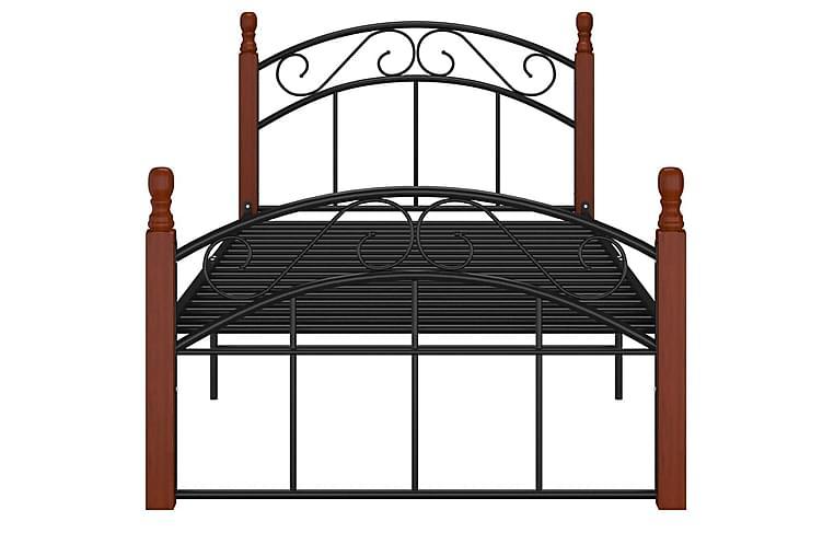 Sängram svart metall och massiv ek 90x200 cm - Svart - Möbler - Sängar - Sängram & sängstomme