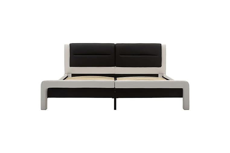 Sängram vit och svart konstläder 120x200 cm - Vit - Möbler - Sängar - Sängram & sängstomme