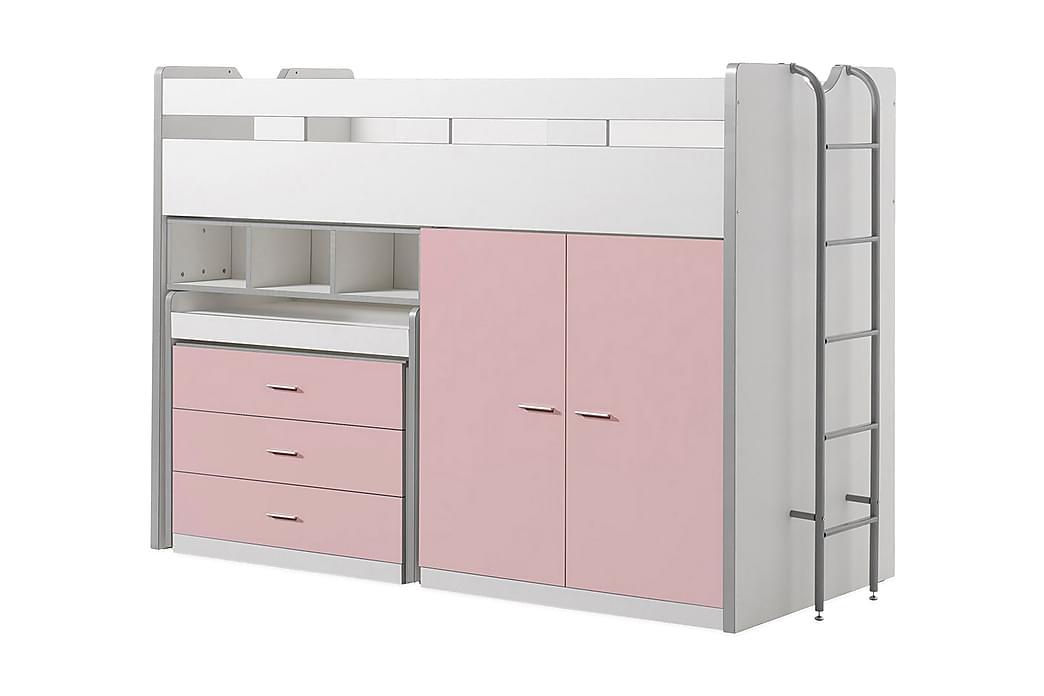 Barnsäng/Loftsäng Bringberry Förvaring - Vit Rosa - Möbler - Sängar - Våningssängar