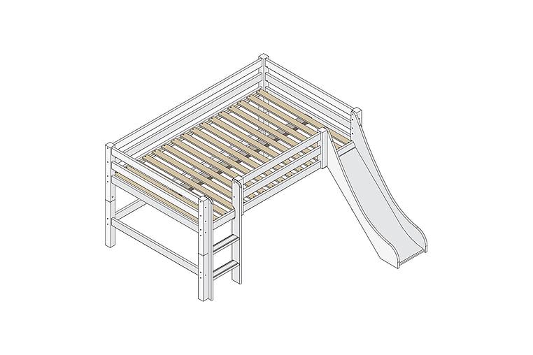 Säng med stege och rutschkana Trotvallen 209 cm - Vit - Möbler - Sängar - Våningssängar
